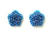 BRINCO FLOR STRASS AZUL