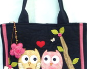 Bolsa Jeans Casal De Corujas