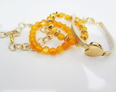 Mix Pulseira Corao Dourado e Laranja