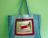 Bolsa Jeans com Patchwork