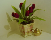 ARRANJO VASO SHABBY TULIPAS BORD.