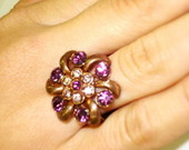 Anel Cobre Strass Roxo e Lils