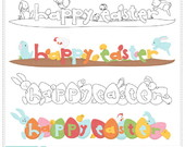 Easter Wordart Clipart Digital
