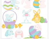Easter Bunnies Clipart Digital