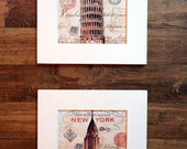 Mod8. Kit 2 Quadros NY e Pisa It�lia