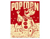 Placa MDF Retr� Pop Corn Clown - 629