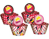24 Wrapper para cupcake + 24 enfeite/top