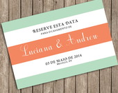 Save The Date Digital- Coral e Menta