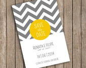 Save The Date Digital- ZigZag Amarelo