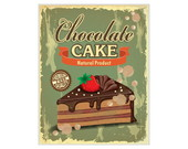 Placa  Retr� MDF Chocolate Cake - 673