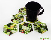 Porta-copo patchwork verde / 6 Pe�as