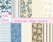 Kit Papel Digital Blue Chic