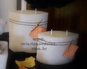 VELAS MARMORIZADAS  BRANCAS.