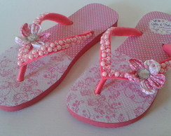 CHINELO DECORADO ROSA FUXICO