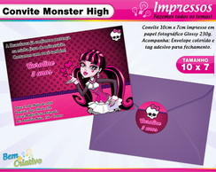 Convite Monster High Draculaura