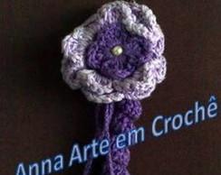 Chaveiro com Flor em Croch� (Roxo)