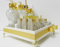 Kit Toilette Off-White e Dourado