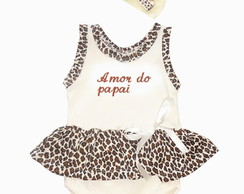 "Kit beb� body Oncinha ""Amor do Papai"""