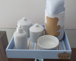 Cole��o Ursos Kit Porcelana Fox Azul
