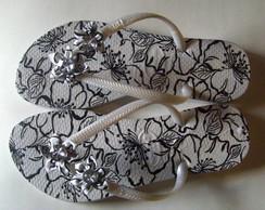 Slim floral branco e preto