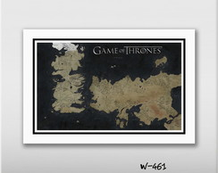 Quadro 60x40cm Mapa Game Of Thrones