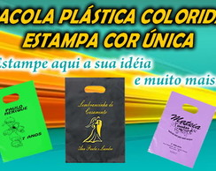 SACOLA PL�STICA COLORIDA STAMP COR �NICA