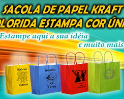 SACOLA KRAFT COLOR C/ ESTAMPA COR UNICA