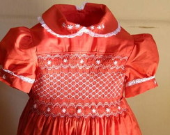 Magn�fico vestido bordado estilo ingl�s