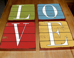 Kit 4 Quadros Tela LOVE Wood