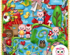 kit papel scrap e elemento digital 10-12