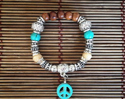 Pulseira Mix Pedras Peace And Love