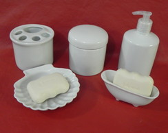 KIT HIGIENE PORCELANA BRANCO 5 PE�AS