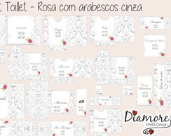 Kit Toillet -Rosa c/arabesco cinza- 20*