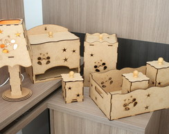 Kit Beb� Higi�nico 7 Pe�as Urso MDF Cru