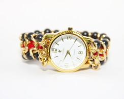 Watch Bracelet Red Crystals