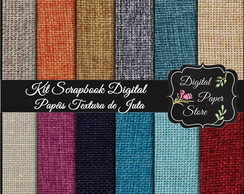 KIT SCRAPBOOK DIGITAL - 12 PAP�IS JUTA