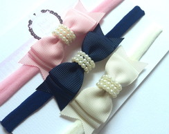 Kit com 3 headbands - p�rolas