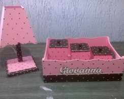 kit de Higiene Po�s Rosa c/Marrom 5pe�as