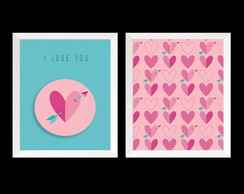 KIT quadros I Love You 20x25 c/ moldura