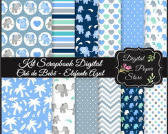 KIT SCRAPBOOK DIGITAL - ELEFANTE AZUL