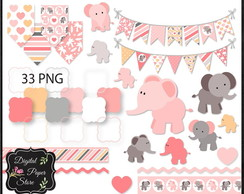 KIT SCRAPBOOK DIGITAL - ELEFANTE ROSA