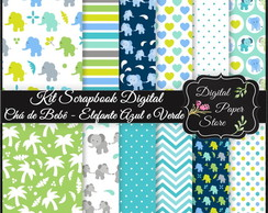 KIT SCRAPBOOK DIGITAL - ELEFANTE VERDE
