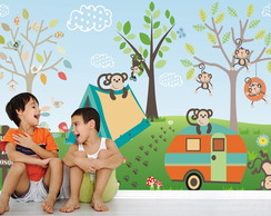 Adesivo Painel Infantil Zoo Macaco 24