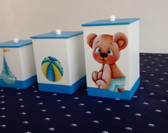 kit higiene mdf bebe 7 pe�as liso urso