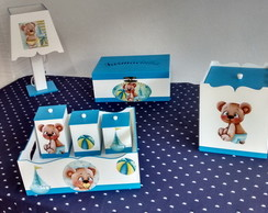 KIT MDF BEBE LISO 7 PE�AS DECORADO URSO