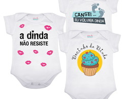 Kit 3 bodies ou Camisas Dindinha