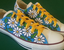 All Star pintado a m�o Margaridas