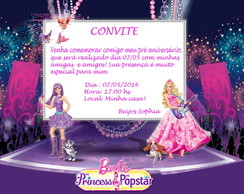 Convite digital Barbie Princesa Pop Star