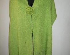 Manta de Seda com Flor Verde