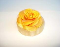 Broche Flor Tecido Amarelo